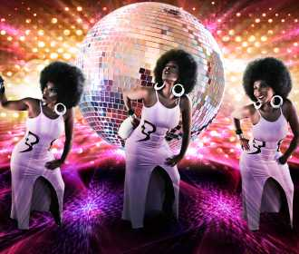 Disco poster.jpg 3 ladies purple THE DISCO